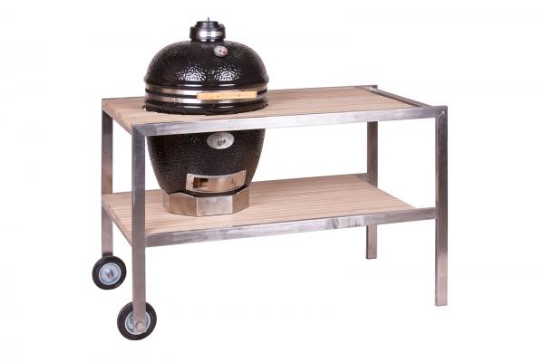 CLASSIC - Tisch aus Edelstahl & Teakholz